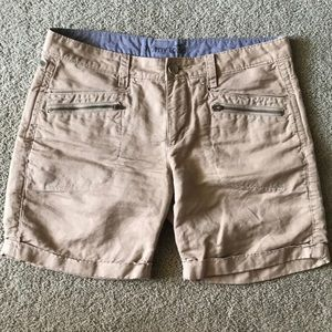 """Tan shorts with 6.5"""" inseam"""